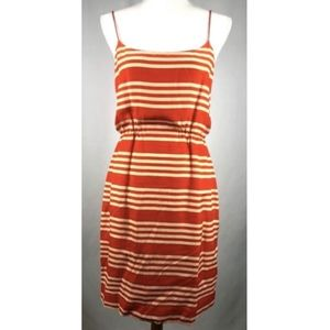 J Crew 6 Blouson Dress Stripe Orange Silk Strappy